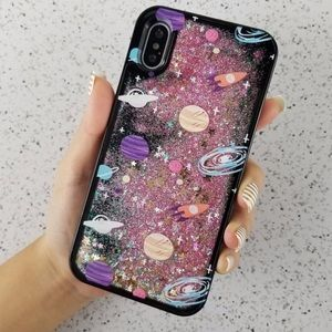 Other - iPhone X Space Saturn Star Rocket Glitter Case